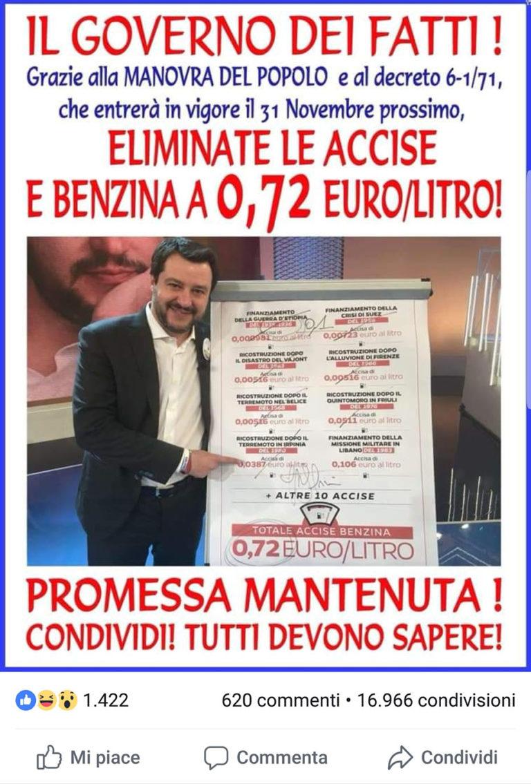 Benzina senza accise a € 0.72 il governo dei fatti elimina le tasse. Promessa mantenuta - Armando De Lucia - Legale Informatico