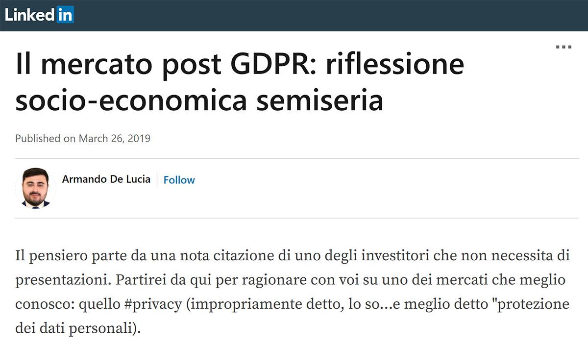 Armando De Lucia - Linkedin - GDPR